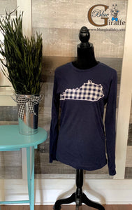 Navy Gingham State Long Sleeve Tee