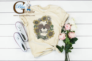Sunflower and Leopard Skull Tee