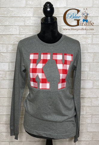 Red and White Plaid KY Long Sleeve Tee