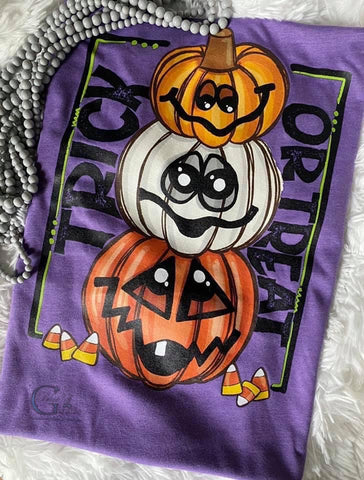 Trick or Treat Stacked Pumpkins Tee