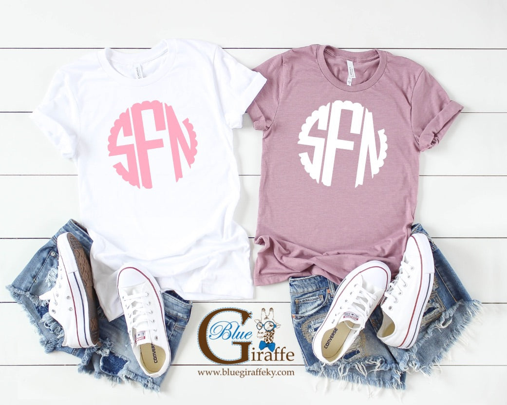 Scallop Monogram Tees