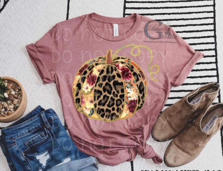 Leopard and Floral Pumpkin(Mauve) Tee