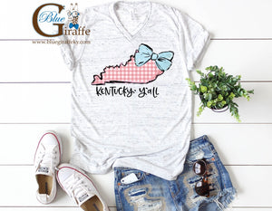 Pink Gingham State with Bow Tee