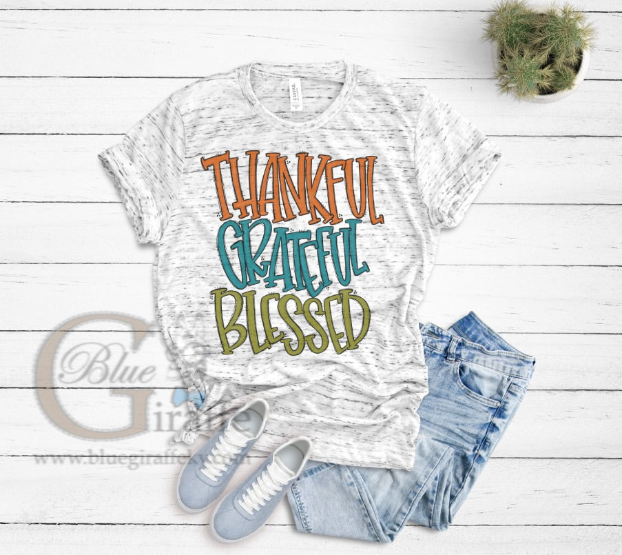 Thankful Grateful Blessed Marble Tee