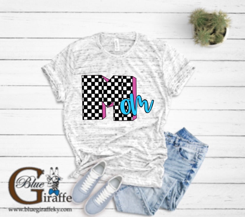 Checkered Mom Tee