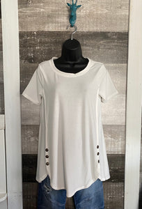 SIDE BUTTON SHORT SLEEVE TUNIC