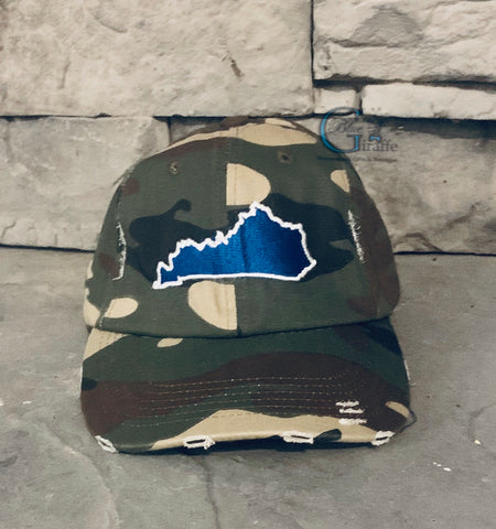 Blue State(White Outline) Camo Hat