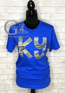Camo KY on Blue Applique Tee