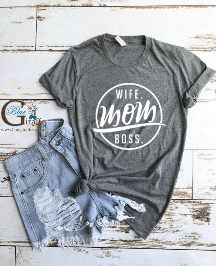 Wife Mom Boss Circle Tee