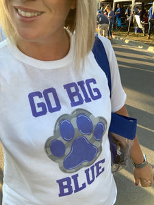 Go Big Blue Paw Print Tee
