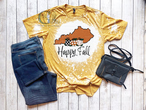 Bleached Happy Fall Y'all State Tee