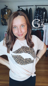 Leopard Lips Applique Tee