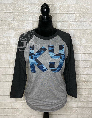 Blue Camo KY Applique Raglan