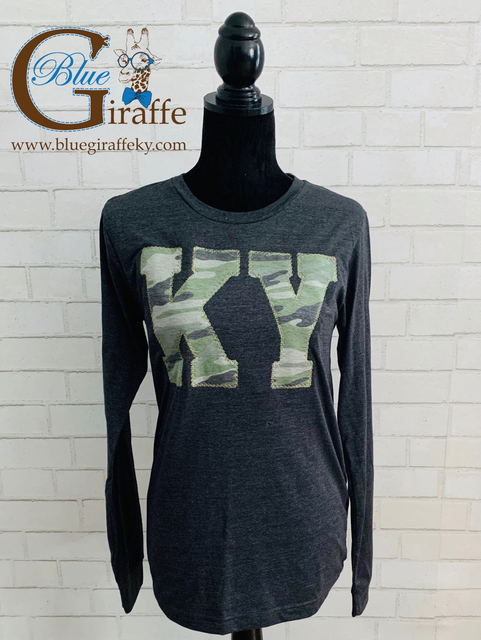 Vintage Washed Camo KY Applique Long Sleeve Tee
