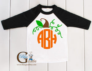 Youth Pumpkin Monogram Raglan