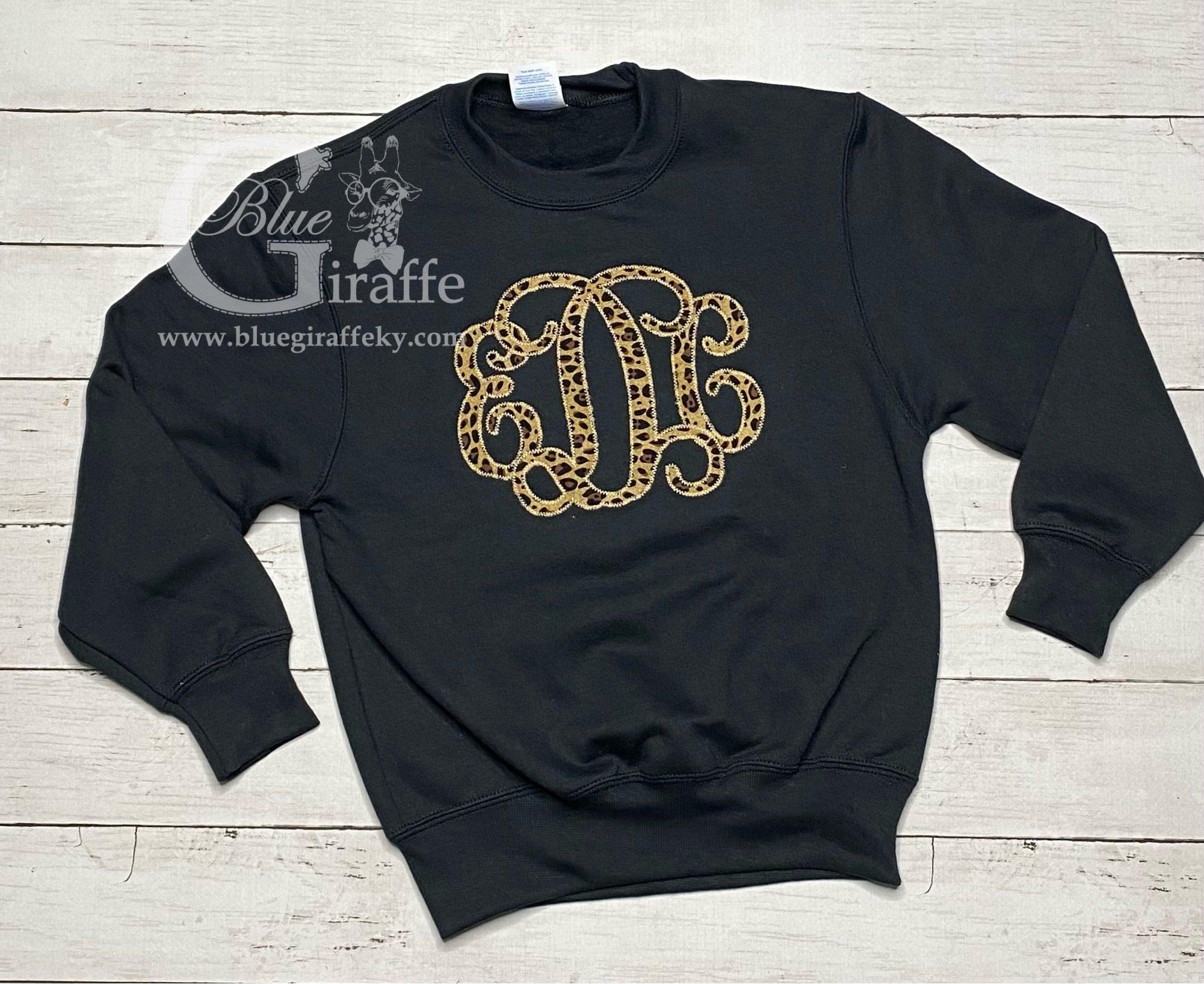 Youth Leopard Monogram Applique Sweatshirt