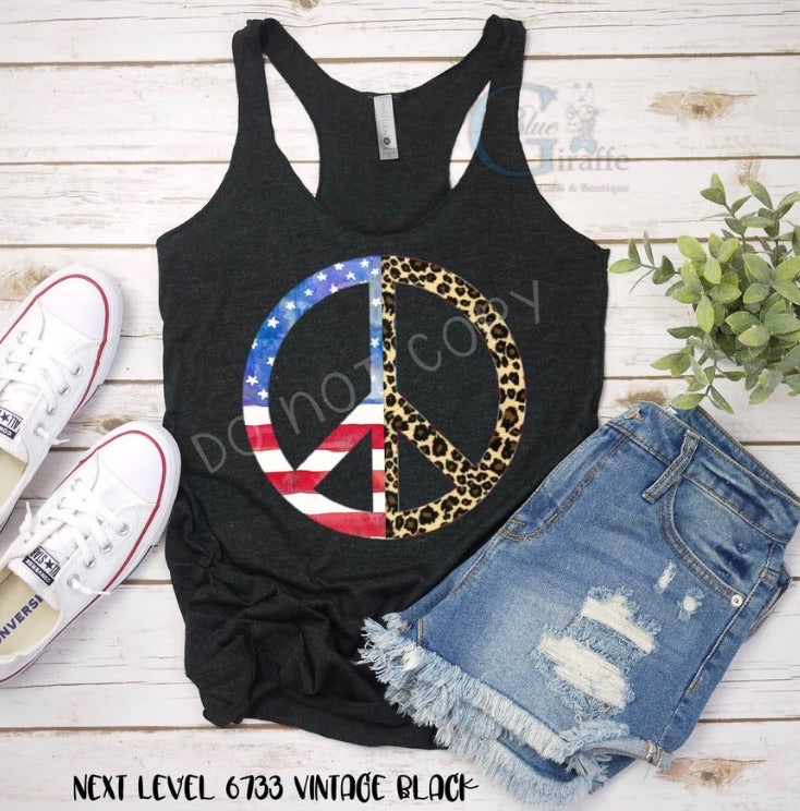 Leopard Flag Peace Sign Tank or Tee