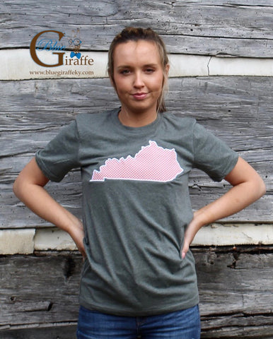 Pink Gingham State Tee