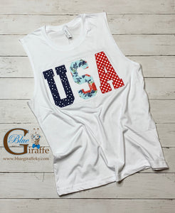 USA appliqué Sleeveless Tee, Tank or Tee