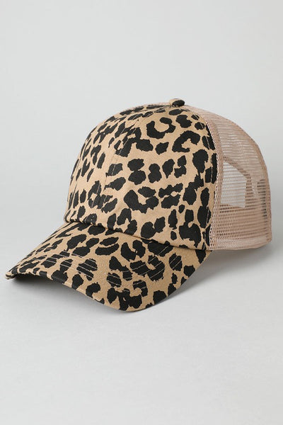 Leopard and Mesh Trucker Hat