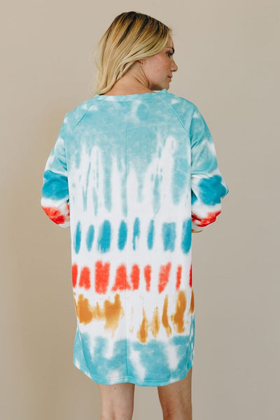 Game Day Tie Dye Sweat Shirt Dress