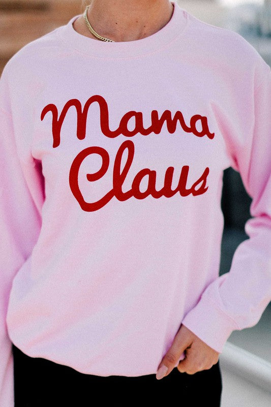 MAMA CLAUS Baby Pink Crew Neck