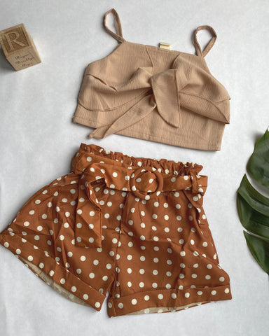 Mocha Polka Dots Shorts Set