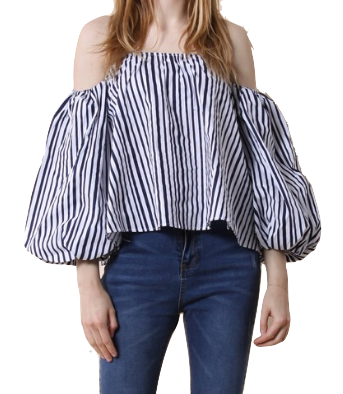 Stripe It This Way Bubble Sleeve Top