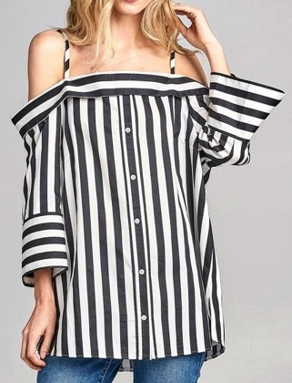Off-Sides Off the Shoulder Button Down