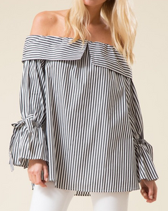 Wrist Tied Gathered Sleeve Off the Shoulder Top
