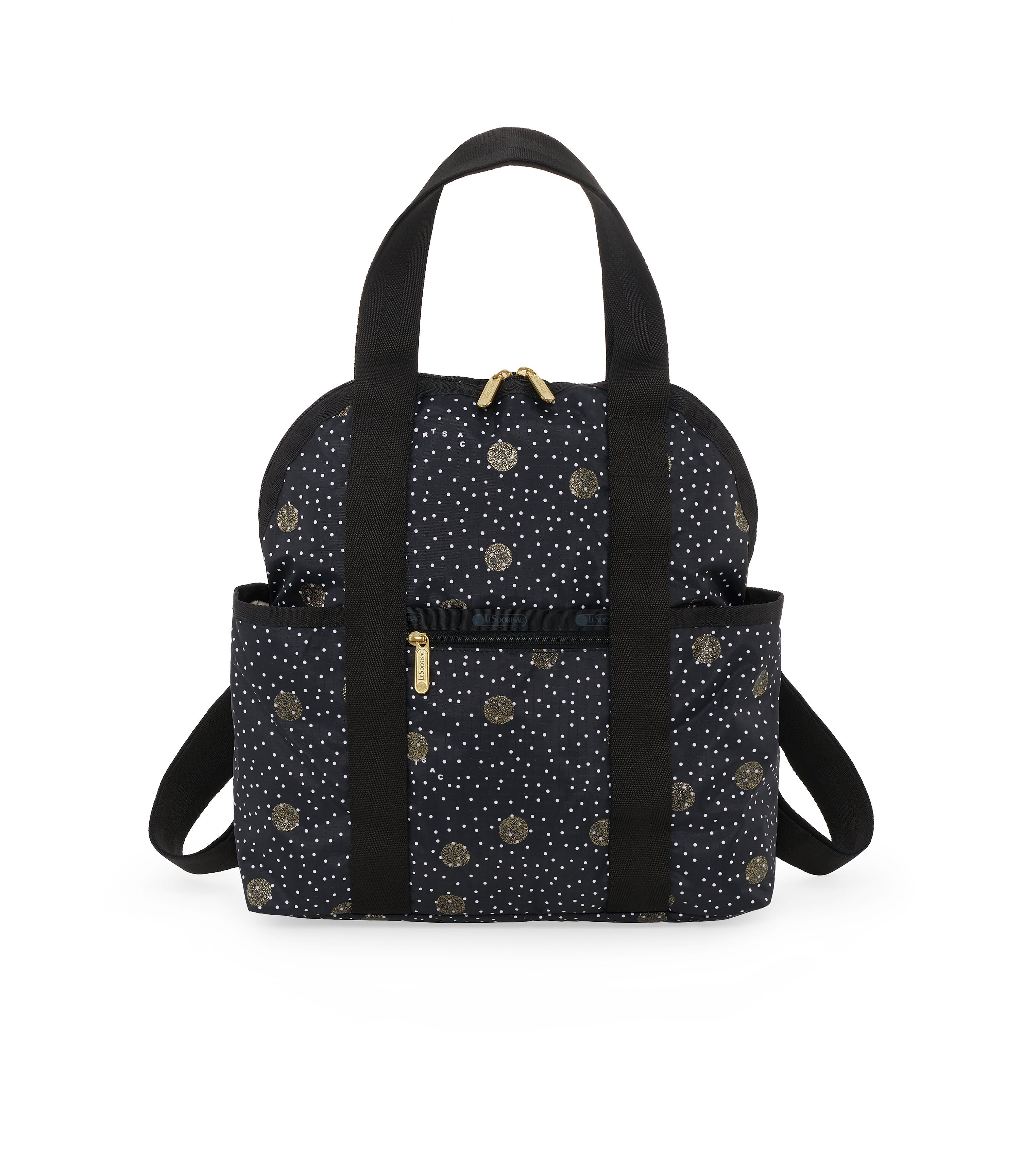 Double Trouble Backpacks, Water Resistant Backpack, Black Sand print