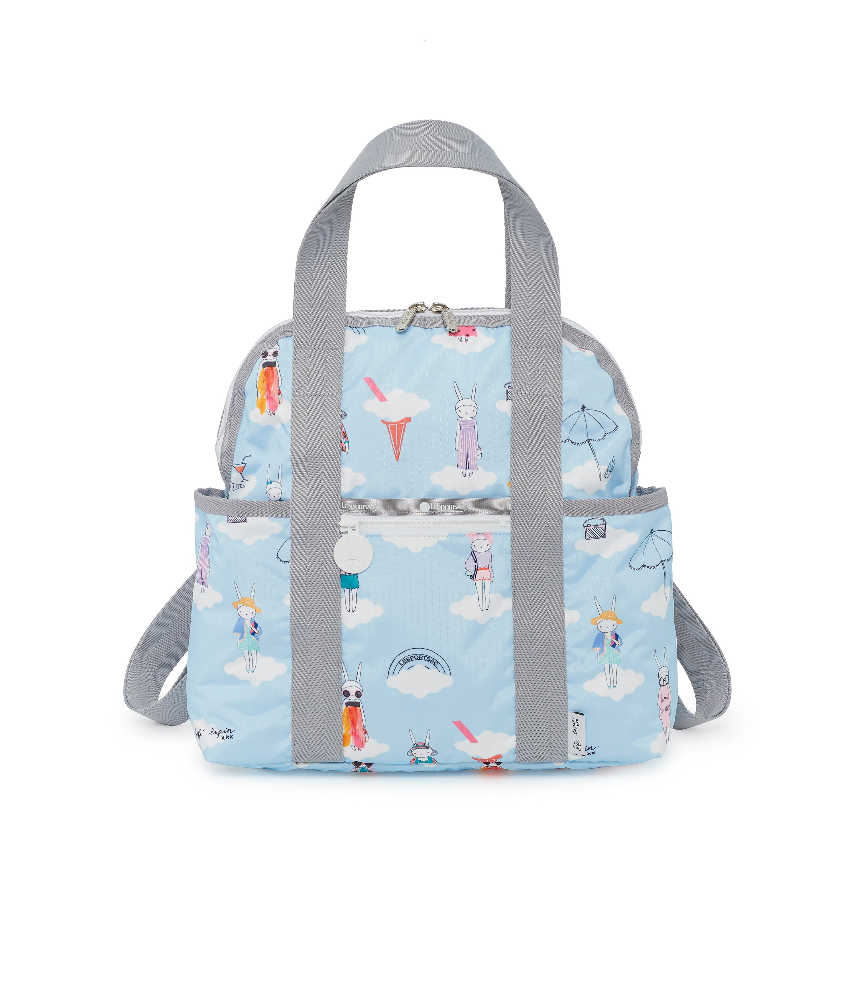 Double Trouble Backpacks, Water Resistant Backpack, Baby Bag, Fifi Lapin, Blue, Bunny print, Day Dreaming print
