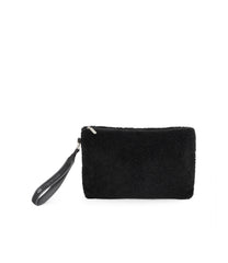 Fur Pouch, Accessories, Makeup and Cosmetic Bags, LeSportsac, Black Sherpa