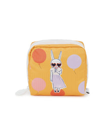 Medium Square Cosmetic, Accessories and Cosmetic Bag, Fifi Lapin, Bunny print, Orange Makeup Case, Gelato Girl