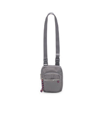 Active Charlie Crossbody, Nylon Handbag, Travel Bag, LeSportsac, Adjustable, Gray solid