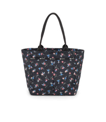 Traveling EveryGirl Tote, Women's Tote Bags & Tote Purses, Luggage Sleeve, LeSportsac, Zinnia Fields Black print