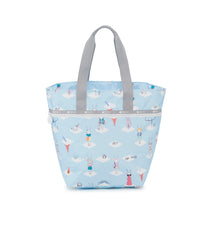 Large Elle Tote, Nylon Tote Bags, Carry-on, Fifi Lapin, Bunny, Day Dreaming print