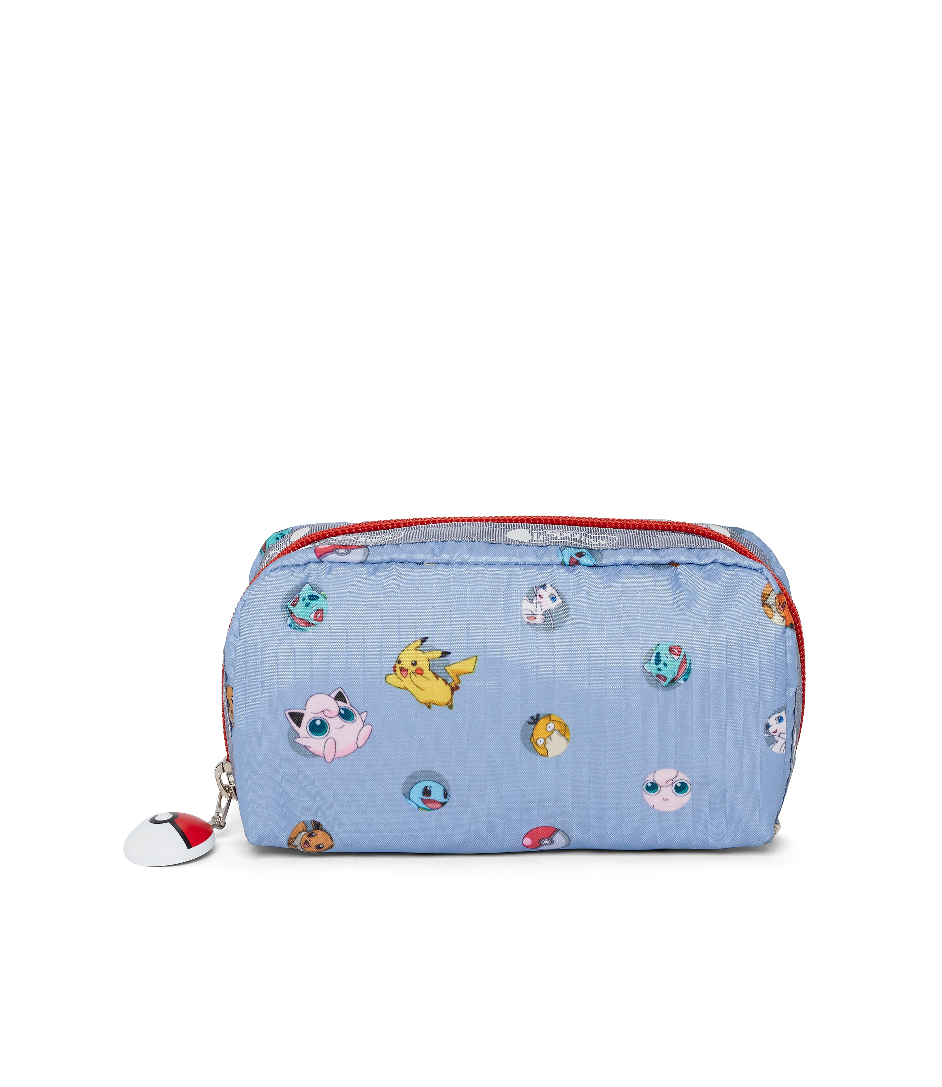 Pokémon Rectangular Cosmetic-LeSportsac-Small-PokéBall-Blue-pouch-front