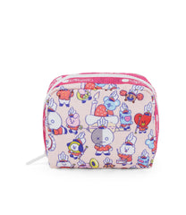 Square Cosmetic, Line Friends, BTS Cosmetic Bag and Pouch, LeSportsac, Character print, BT21 Multi Accessories, Pink
