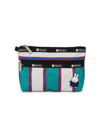 Dick Bruna - LeSportsac Cosmetic Clutch - Accessory - Green Stripe Miffy -  Front View