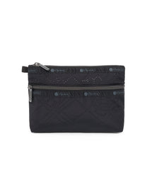 Cosmetic Clutch, Accessories and Cosmetic Bag, LeSportsac, Fleur De Check Black Debossed