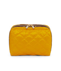 XL Rectangular Cosmetic, Accessories and Cosmetic Bag, LeSportsac, Tolietry Bag, Matelasse Gold Tonal Quilted