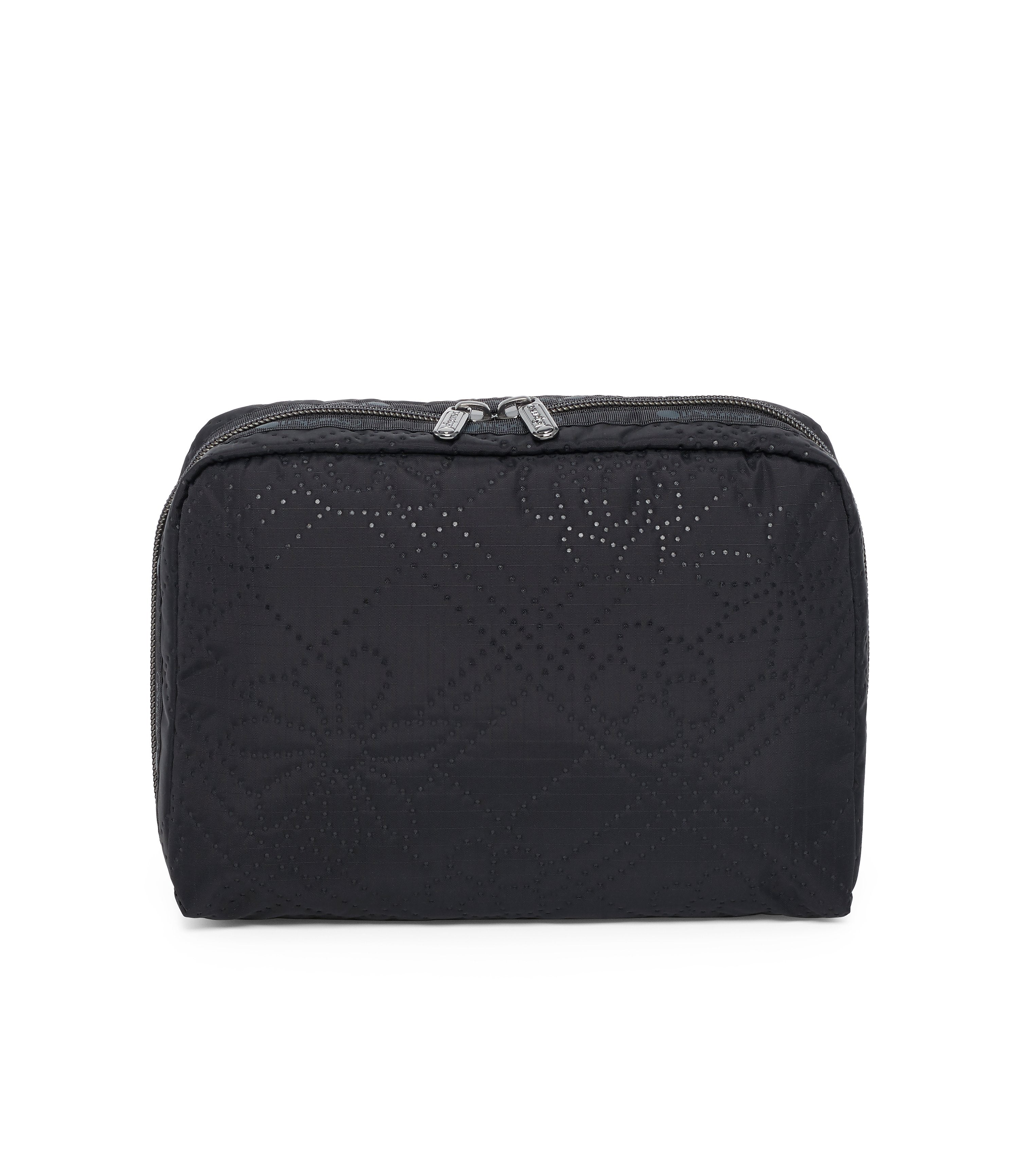 XL Rectangular Cosmetic, Accessories and Cosmetic Bag, LeSportsac, Tolietry Bag, Fleur De Check Black Debossed