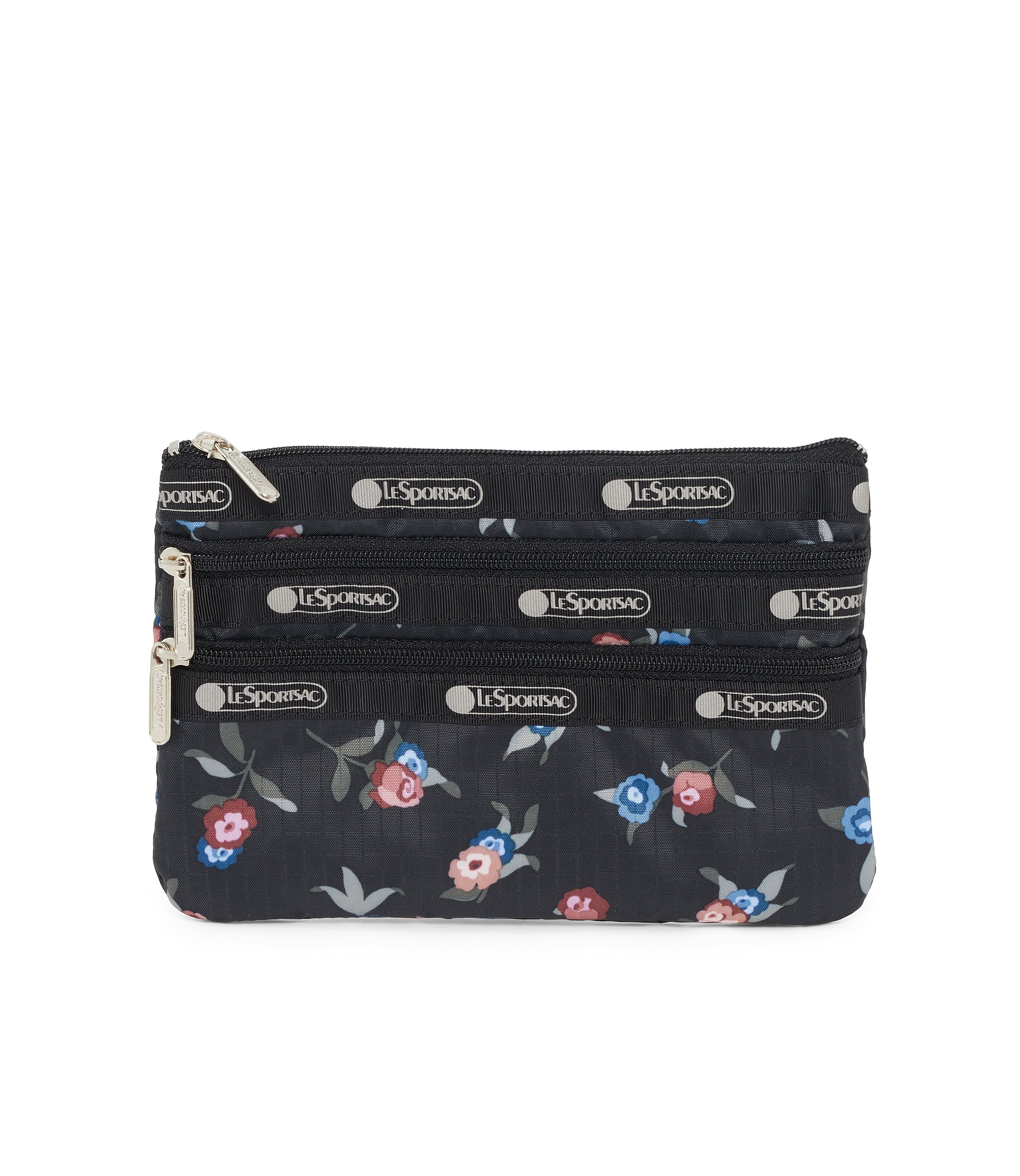 3-Zip Cosmetic, Accessories and Cosmetic Bag, LeSportsac, Zinnia Fields Black print