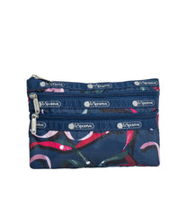 LeSportsac - Accessories - 3-Zip Cosmetic - Ribbons Navy print