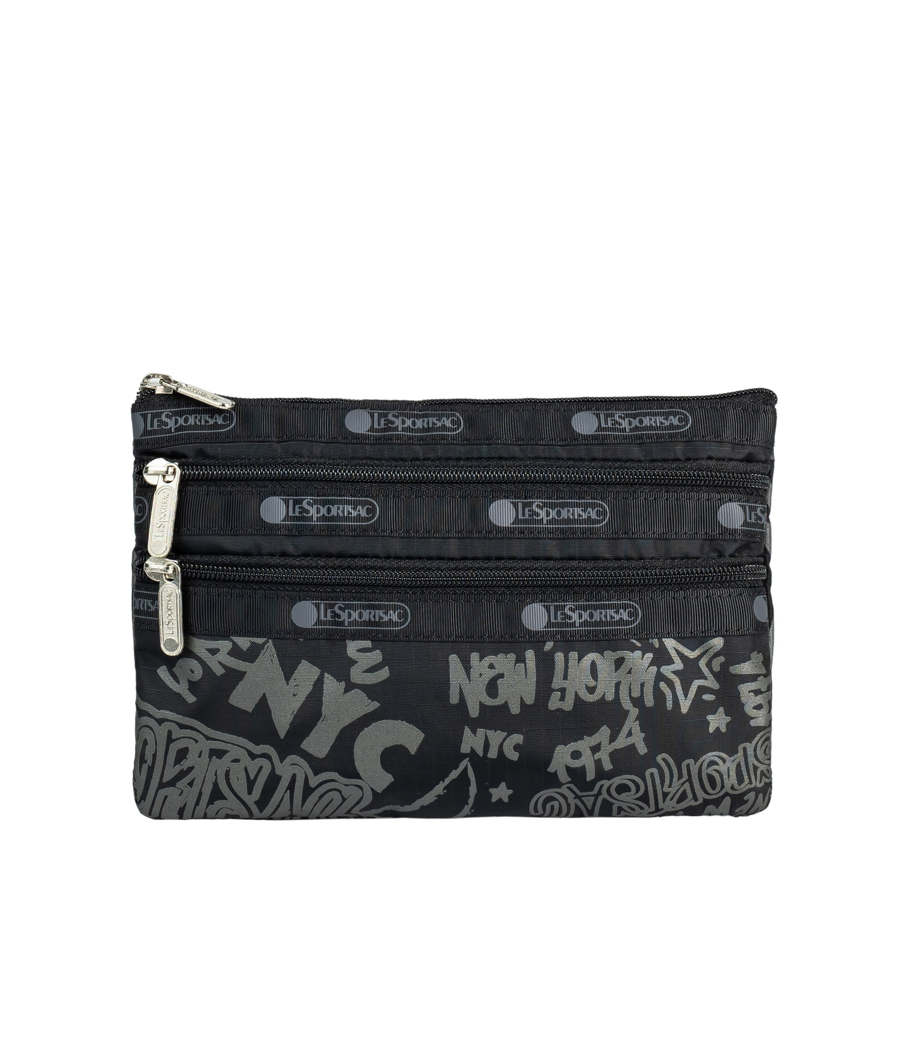 LeSportsac - Accessories - 3-Zip Cosmetic - LeSportsac City Script print