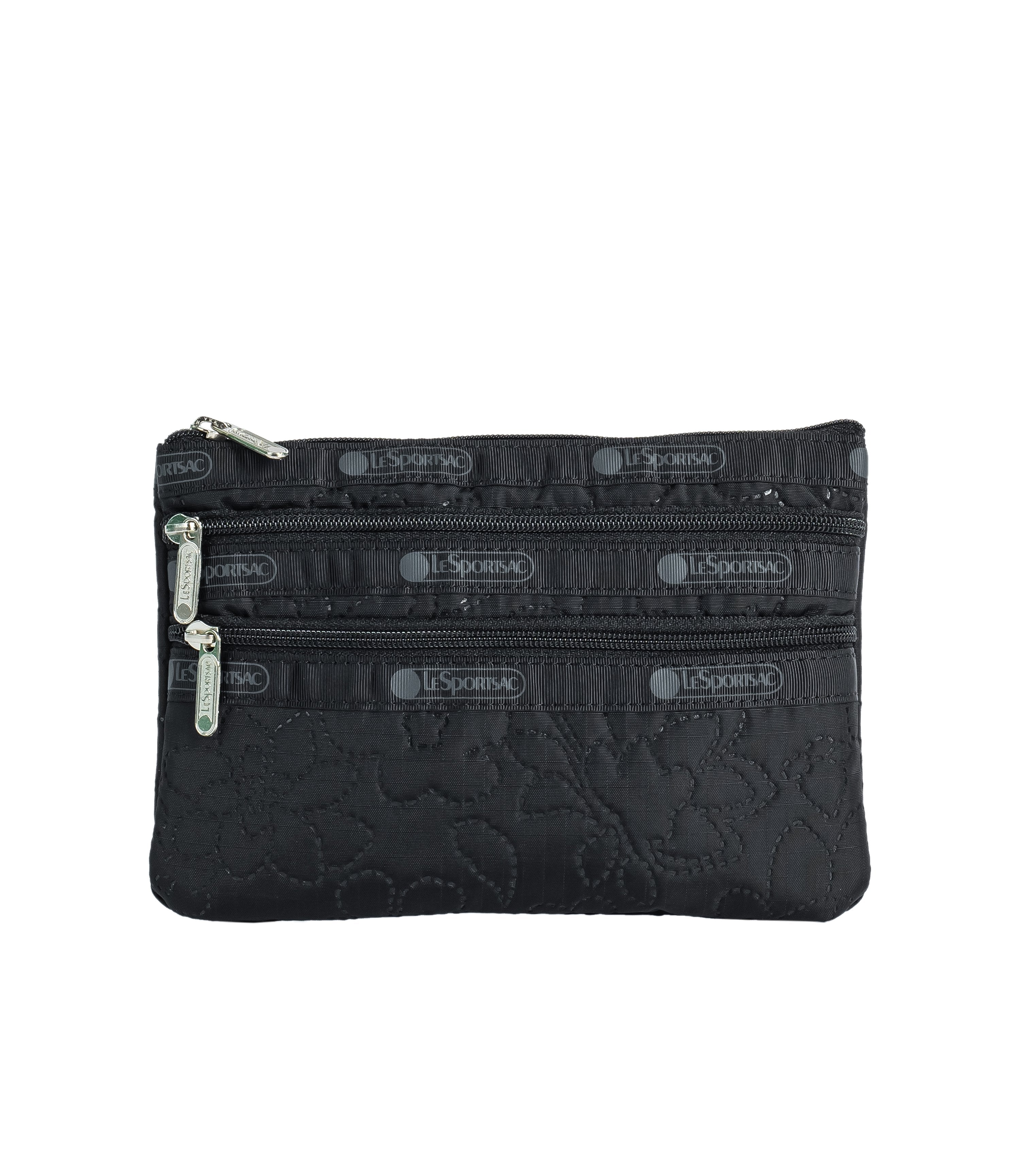 LeSportsac - Accessories - 3-Zip Cosmetic - Dahlia Deboss Black