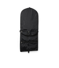 Black garment bag with convertible shoulder strap and 3 zippered front pockets