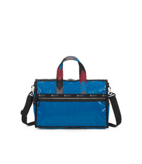 Medium Weekender Bags, Duffle Bags, LeSportsac, Blue Arrow Liquid Patent