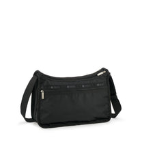 Deluxe Everyday Bag, Nylon Handbags and Classic Purses, Back view, Back Zipper, Black Solid